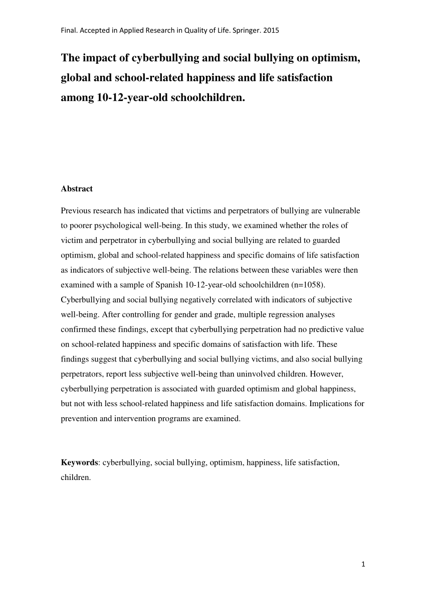 pdf about impact of bullying in academic performance