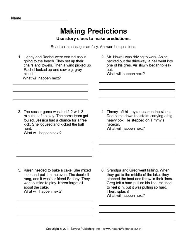 predicting outcomes worksheet for grade 6 multiple choice pdf