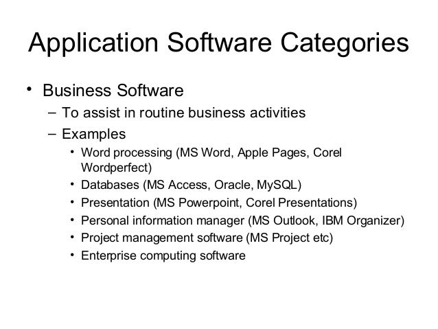 types of business application software