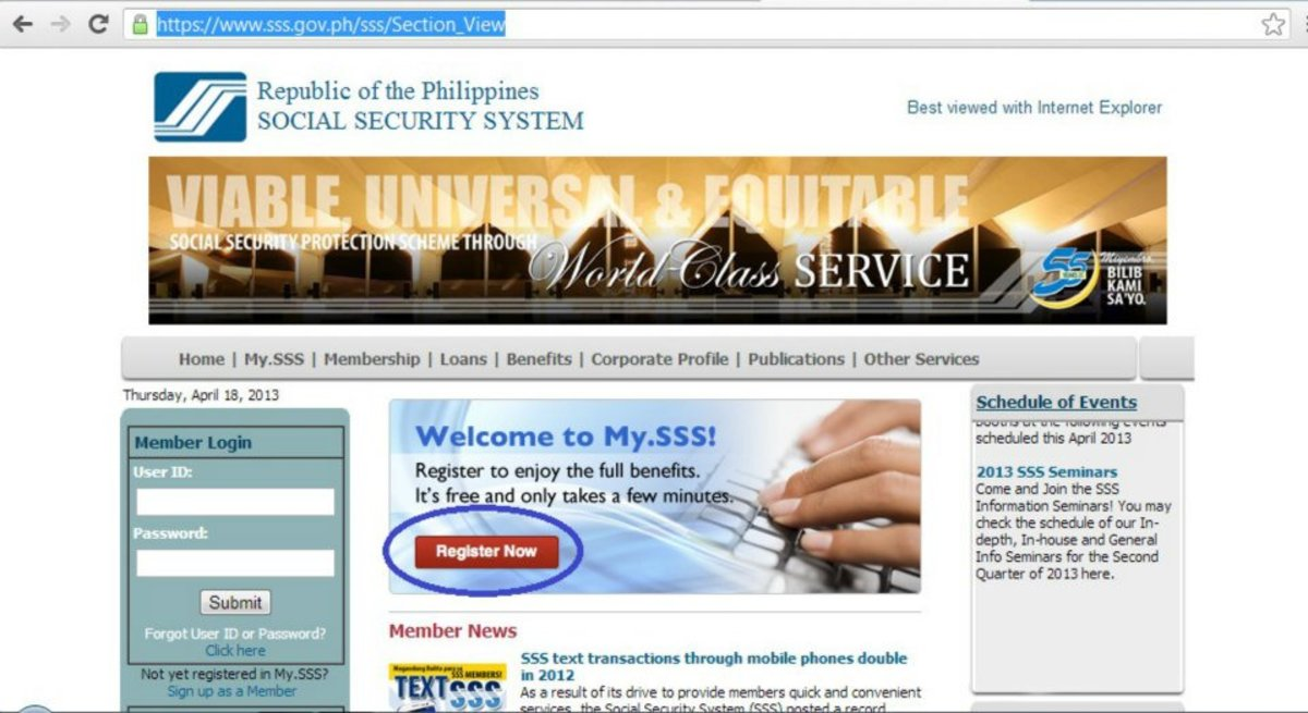sss salary loan application thru company