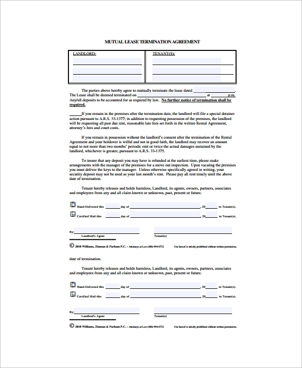 termination of lease agreement pdf