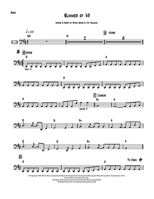 summer of 69 chords pdf