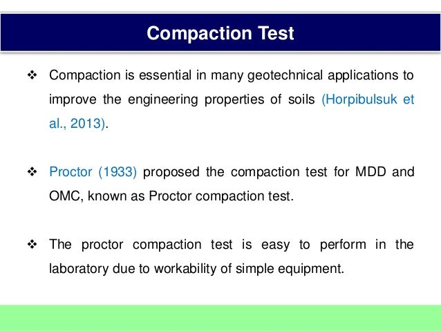 soil compaction test application to engineering