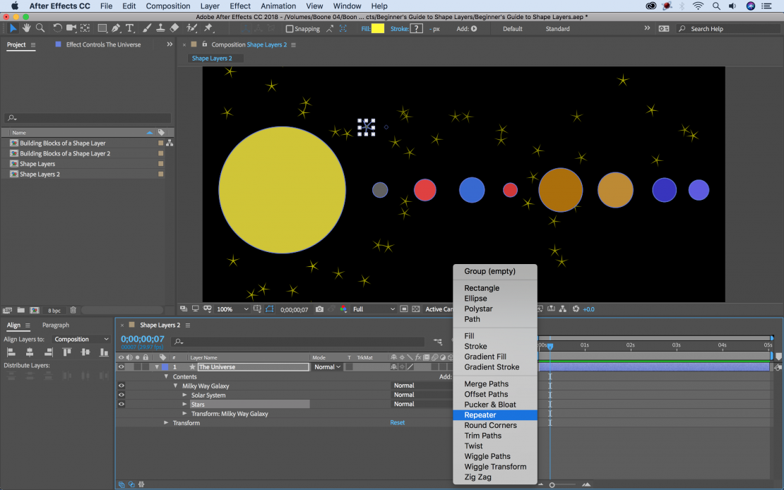 the ultimate guide to shape layers in after effects