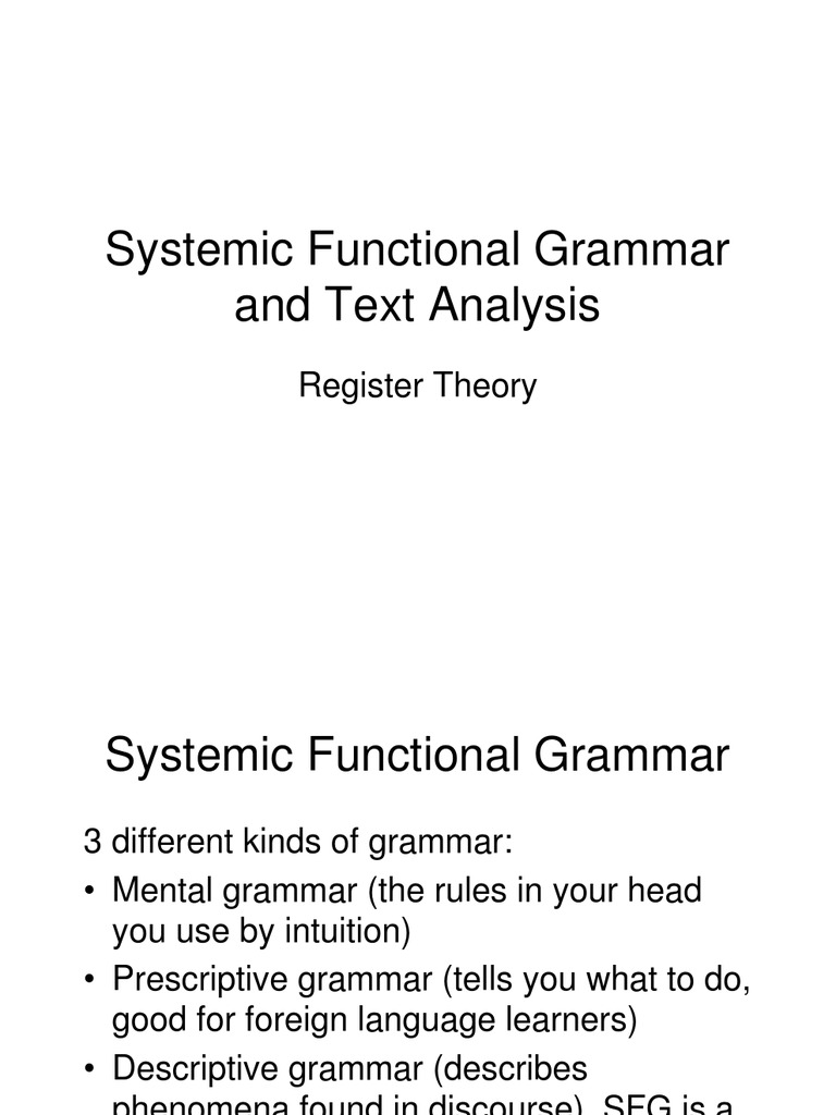 systemic functional grammar text analysis pdf
