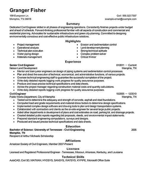 resume sample for job application for civil engineer