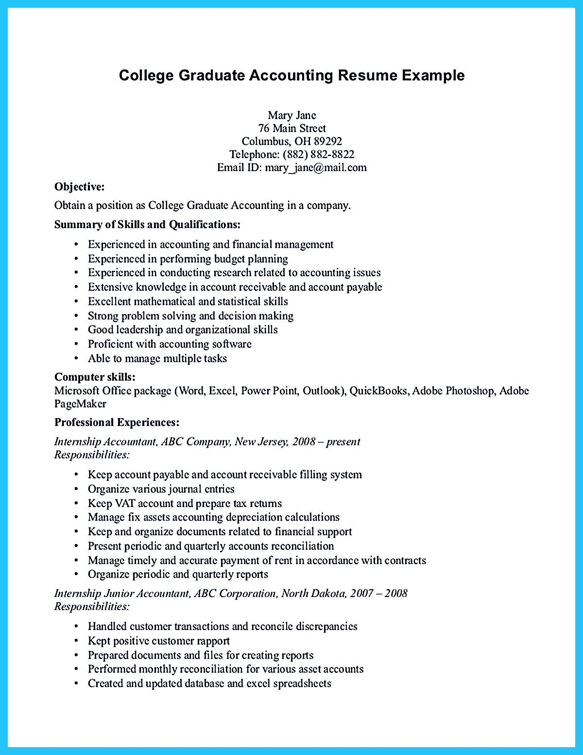 sample application letter for accountant with no experience