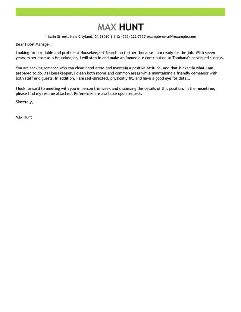 sample application letter for janitorial