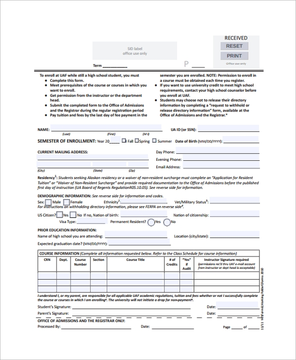 school enrollment application form sample